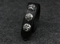 Chrome Hearts Leather Bangle CHT006 CH CROSS Army Fleur Solid 925 Sterling Silver