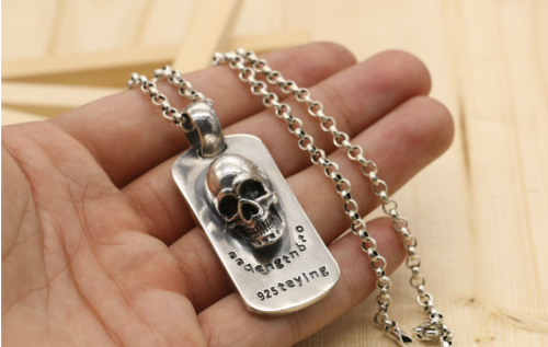 Chrome Hearts Pendant Skull Tag CHP028 Solid 925 Sterling Silver