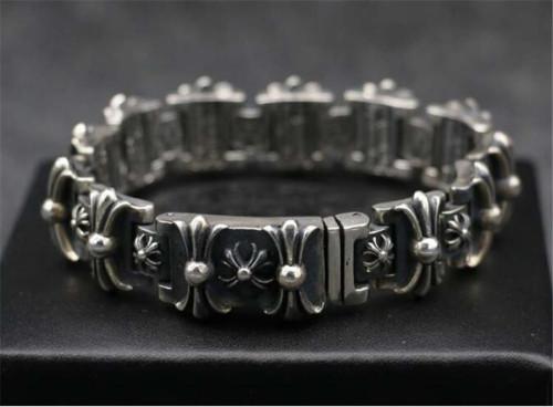 CHROME HEARTS Wide 925 Sterling Silver Cross Bracelet CHB070