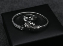 Chrome Hearts Bangle Open CHT002 Flower CH CROSS Solid 925 Sterling Silver