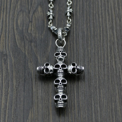Chrome Hearts Pendant Skull Cross CHP117 Solid 925 Sterling Silver