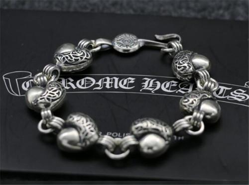 CHROME HEARTS BRACELET Complex Silver Bracelet Rough Thai Silver Heart Shape CHB094
