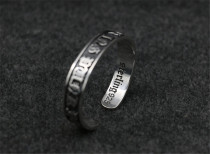Chrome Hearts Bangle FUCK YOU Black Band CHT017 Solid 925 Sterling Silver