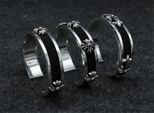 Chrome Hearts Bangle Open CH CROSS / CH FLOWER CHT061 Solid 925 Silver