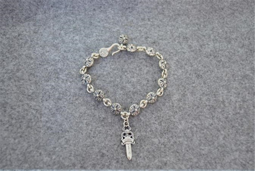 CHROME HEARTS Sterling Silver Cross Beads Bracelet CHB067