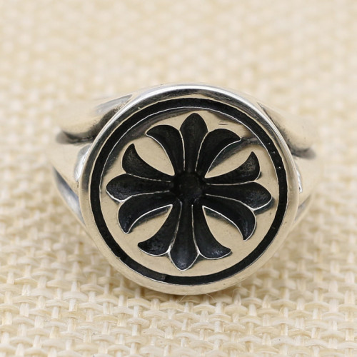 CHROME HEARTS FLOWER RING ROUND CHR111 Solid 925 Sterling Silver