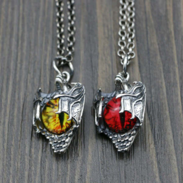 Chrome Hearts Pendant Cat Eye Red/Yellow CHP114 Solid 925 Sterling Silver