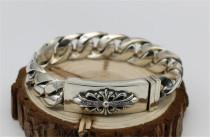 CHROME HEARTS 925 Sterling Silver Cross Flower Bracelet CHB023