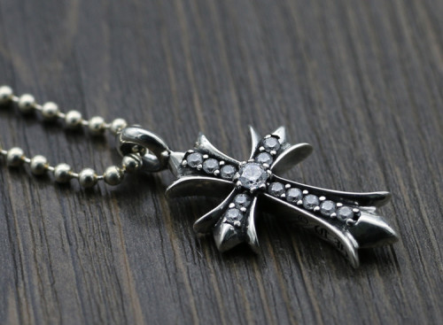 Chrome Hearts Pendant CH CROSS Diamond CHP093 Solid 925 Sterling Silver