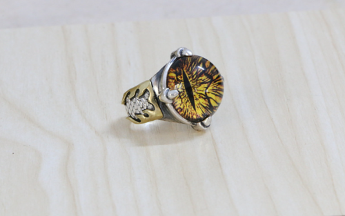 Cat Eye Yellow Ring CHR078 Solid Sterling Silver