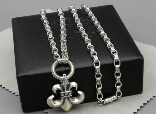 Chrome Hearts Pendant Army Fleur with Chain CHP082 Solid 925 Sterling Silver