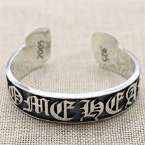 Chrome Hearts Open Bangle  FUCK YOU CHT015 Solid 925 Sterling Silver