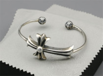 Chrome Hearts Open Bangle CH CROSS CHT018 Solid 925 Sterling Silver