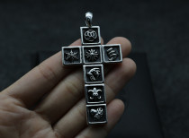 Chrome Hearts Pendant Tetris CROSS CHP102 Solid 925 Sterling Silver