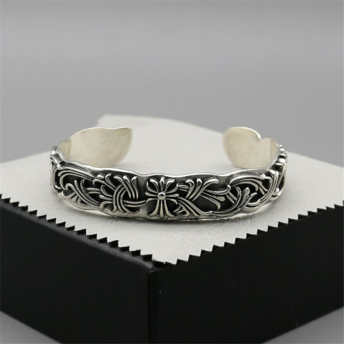 Chrome Hearts Open Bangle CH CROSS Flower CHT026 Solid 925 Sterling Silver