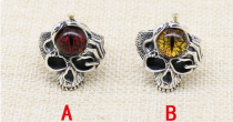 CHROME HEARTS CAT EYE RING SKULL red CHR106 Solid 925 Sterling Silver