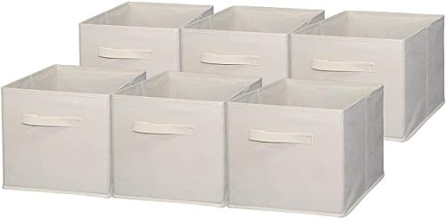 Houseware Foldable Cloth Storage Cube Basket Bins Organizer Wholesale - 6 Pack (11'  H x 10.75'  W x 10.75'  D)