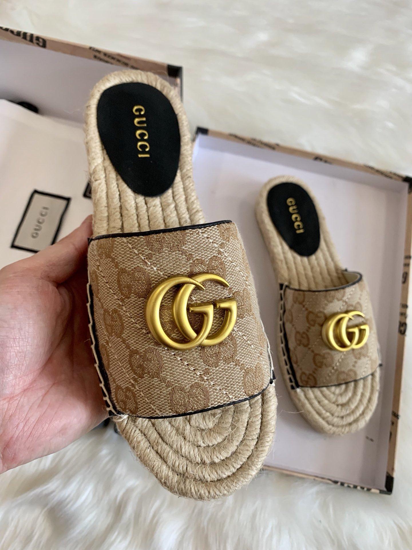 Gucci Matelasse Espadrille Slide Sandals