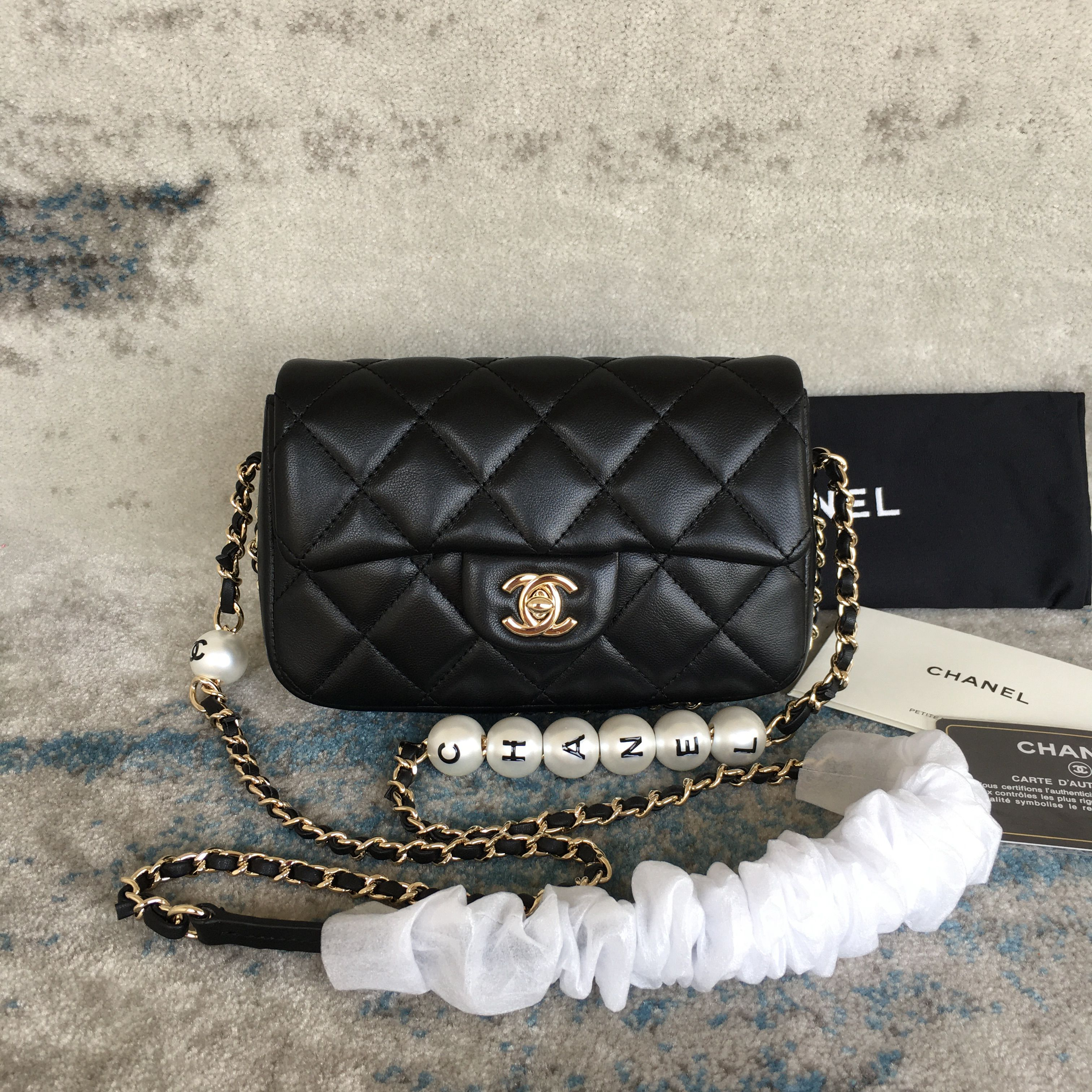 Chanel Logo Pearl Chain Bag