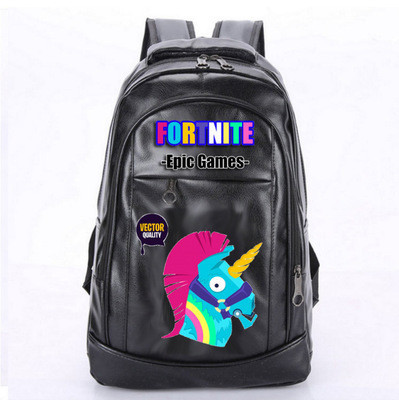 FORTNITE PU Leather Fashion Schoolbag Backpack Knapsack Black