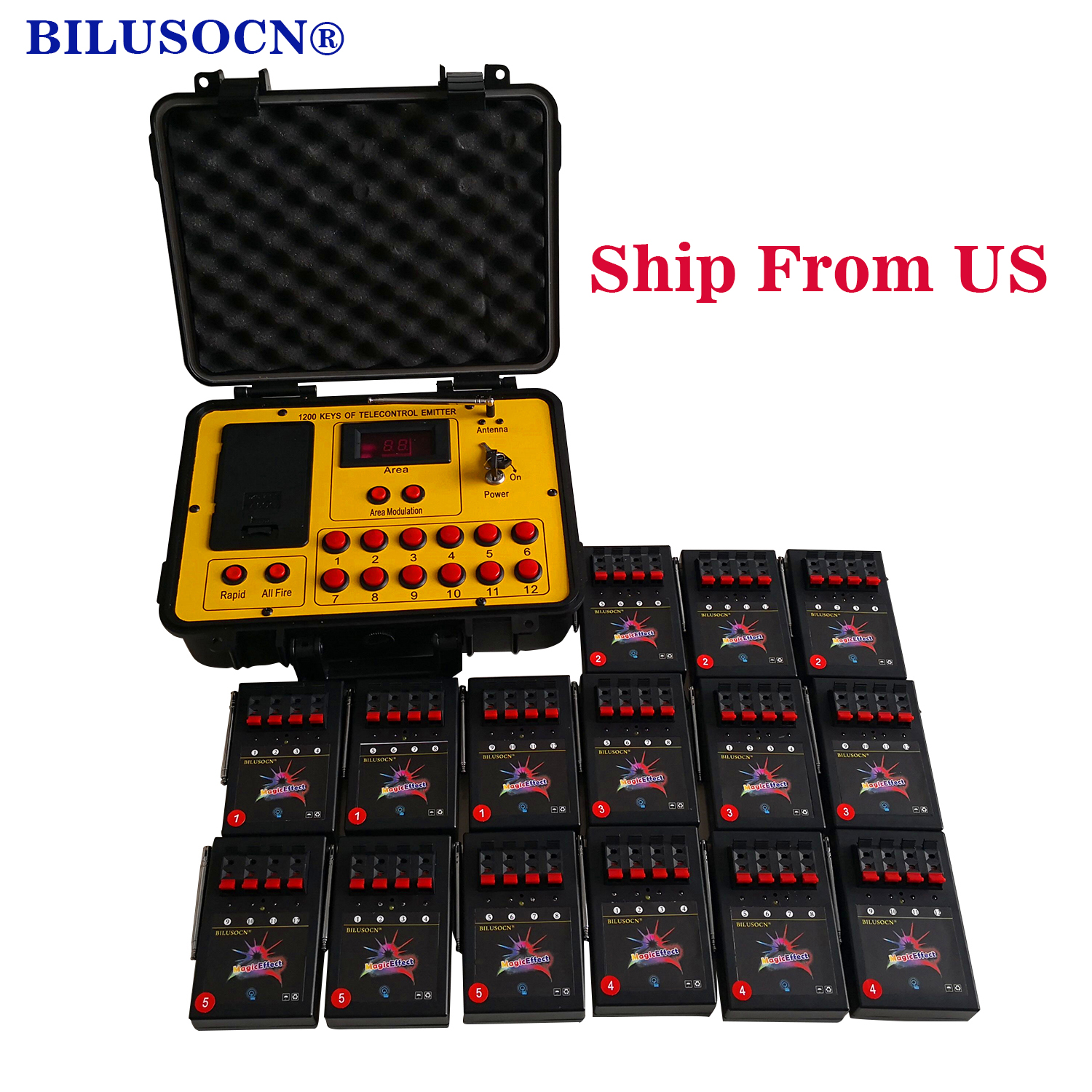Shipping From USA Bilusocn 500M distance+60 Cues Fireworks Firing System ABS Waterproof Case remote Control Equipment