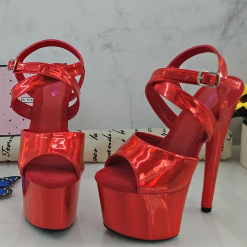 Leecabe 17CM/7Inch Women's Platform Sandals  party High Heels Shoes Pole Dancing Shoes