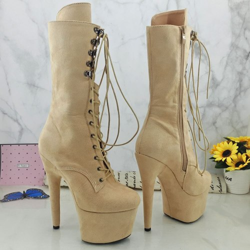 Leecabe Suede PU Upper 17CM/7inches Pole dancing shoes High Heel platform Boots Pole Dance boot