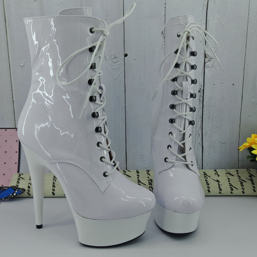 Leecabe 15CM/6Inches White platform with Shinny White upper High Heel platform Boots Closed toe  Pole Dance boot