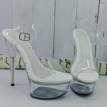 Leecabe 15CM/6Inch Clear Women's Platform Sandals  party High Heels Shoes Pole Dancing Shoes