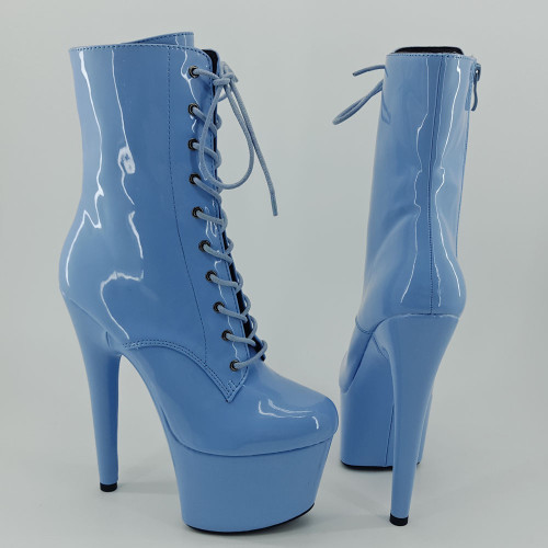Leecabe Shinny Blue 7inch/17CM heels' Pole dancing boot with closed toe Pole Dance boot