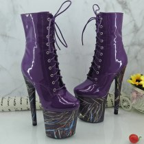 Leecabe Purple Pole dance boot with 20CM/8inches materials High Heel platform Boots open toe Pole Dance boot