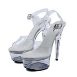 Leecabe Women 6 Inch High Heel 15Cm Platform Crystal Party Sexy Clubbing Exotic Pole Dancing Dancer High Heels Sandals