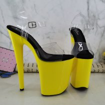 Leecabe 9inches Yellow Platform Shoes Sexy Dance Shoes 23 CM High Heels Sandals Pole Dance shoes