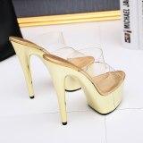 Leecabe Transparent Platform Shoes Sexy Dance Shoes 15 CM High Heels Sandals Night Club Women Pole Dancing sandal Shoes