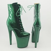 Leecabe Shinny Green 20CM/8inches Pole dancing shoes High Heel platform Boots closed toe Pole Dance boots