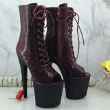 Leecabe WireRED Pole dance boot with 20CM/8inches glitter High Heel platform Boots open toe  Pole Dancing boot