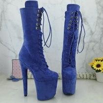 Leecabe Blue Suede 20CM Pole dancing shoes High Heel platform Pole Dance boot