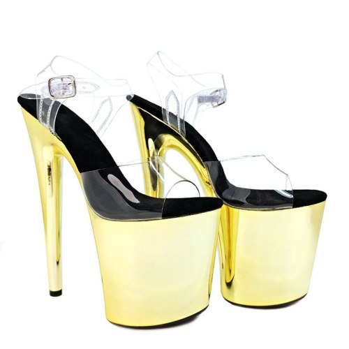 Leecabe New designs 20cm Golden Color pole dance sandals lady shoe high heel platform shoes