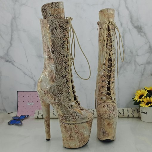 Leecabe Beige Snake Upper 20CM Pole dancing shoes High Heel platform shoes Pole Dance boot