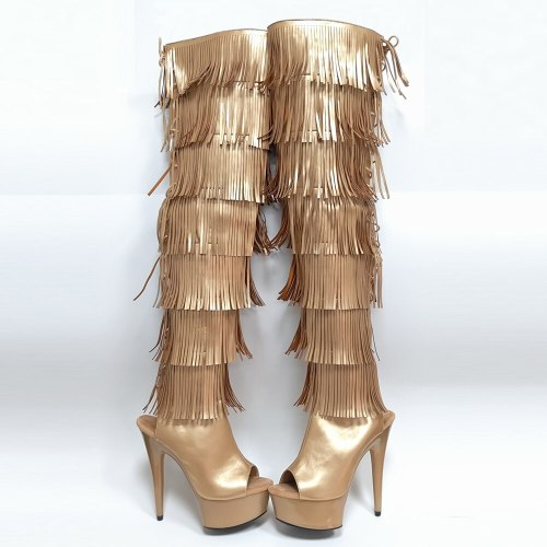 Leecabe Newest 15CM/6inches Pole dance boot with fringes High Heel platform Boots open toe  Pole Dance boot