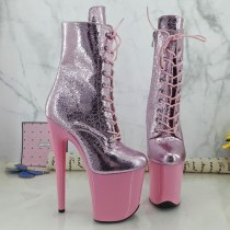 Leecabe pink platform with pink upper 20CM Pole Dance shoes high heel exotic platform shoes