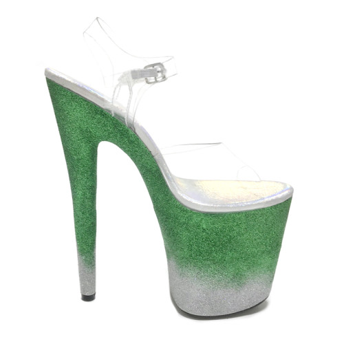 Leecabe Colorful Glitter 20cm fancy pole dance sandals lady shoe high heel platform pole dance shoes with glitter heel