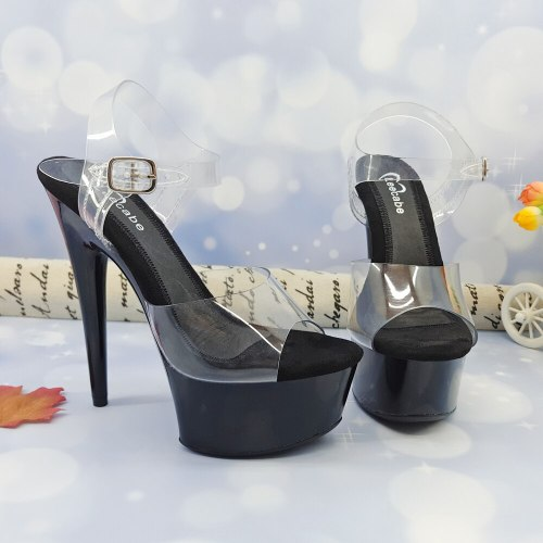 Leecabe 15CM/6Inch Black Women's Platform Sandals  party High Heels Shoes Pole Dancing Shoes