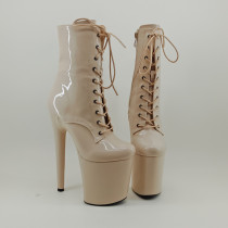 Leecabe Shinny Beige 20CM/8inches Pole dancing shoes High Heel platform Boots closed toe Pole Dance boot