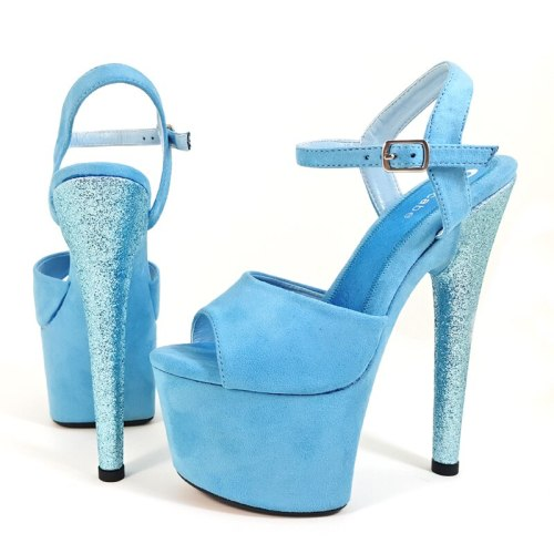 Leecabe Pink/Blue Suede Covered high heel sandals sexy high heels sparkling glitter sexy pole dance shoes