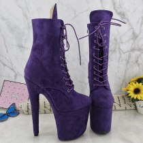 Leecabe Purple Suede 20CM/8Inch Women's Platform disco party High Heels Shoes Pole Dance boot