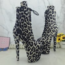 Leecabe  20CM/8inches Leopard Pole dance shoes High Heels Pole Dance boot