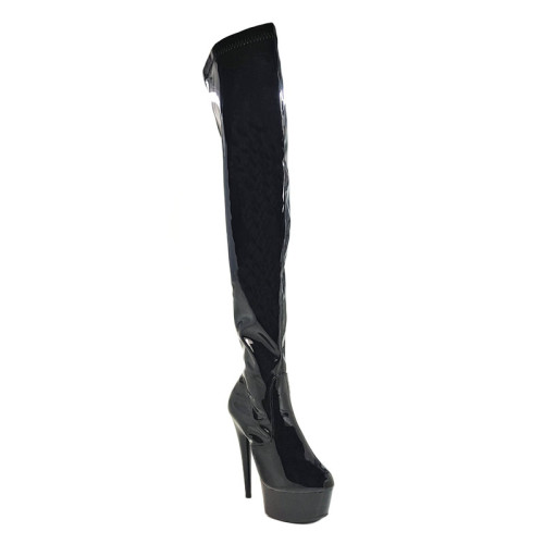 Leecabe 15cm Pole dancing, sexy ultra-high knee-high boots with pure color, sexy dancer high-heeled lap dancing shoes