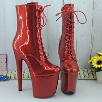 Leecabe  Shinny RED PU 20CM/8inches Pole dancing shoes High Heel platform Boots closed toe Pole Dance boots