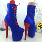 Leecabe  Colorful suede 20CM/8inches Pole dancing shoes High Heel platform Boots closed toe Pole Dance boots